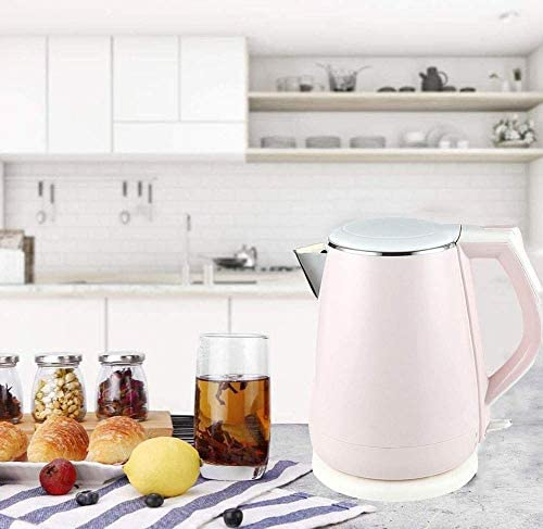 HLJ Electric Kettle, 1.5L Double Wall Cool Touch Tea Kettle, 1800W Fast Water koken Filter waterkoker met roestvrij staal Interior