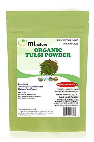 Organic Tulsi Leaves Powder (Ocimum Sanctum) by mi Nature - 227 g / 8 oz / 1/2 lb | USDA NOP Certified 100% Organic | Vegan | Non ()