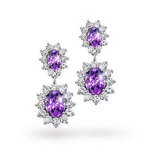 UPC 640626724845, Bling Jewelry Simulated Alexandrite CZ Oval Crown Earrings Rhodium Plated