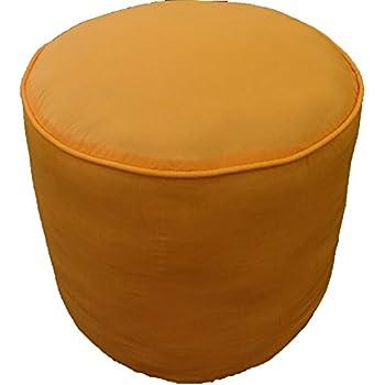 Amazon Com Saffron Plain Cotton Round Ottoman Footstool