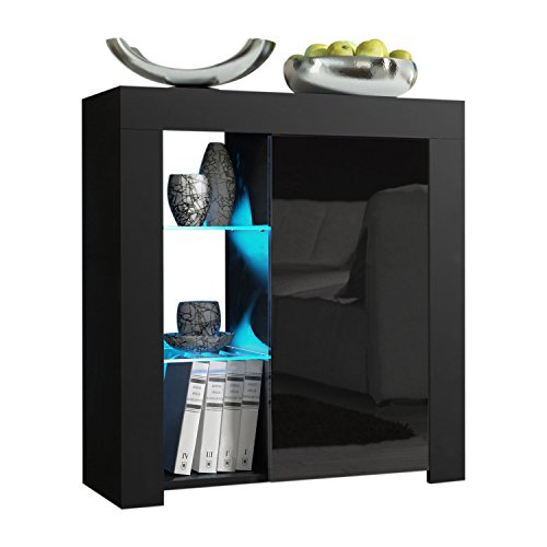 Meble Furniture /& Rugs Milano 30 Sideboard 1D Matte Body High Gloss Doors with 16 Color LEDs Black