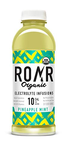 Roar   Organic Electrolyte Infusion - All Natural Low Calorie Coconut Water Pure 100% Natural Hydration   Vegan, Gluten-Free, Low Sugar, Non-GMO   Pineapple Mint   12-Pack