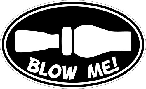 Blow Me Duck Hunting Whistle Printed Oval Sticker (Black & White)