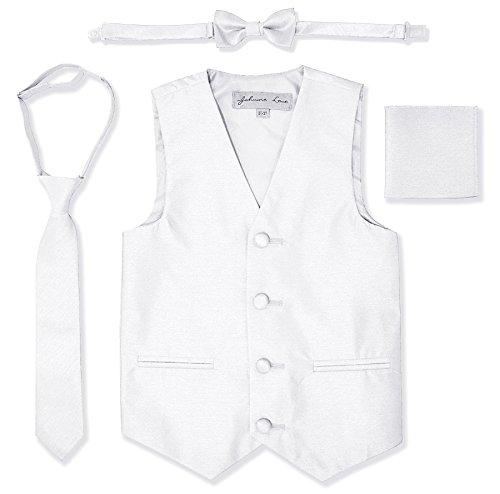 White Kids Vest - JL34 Boys Formal Tuxedo Vest Set (14, White)