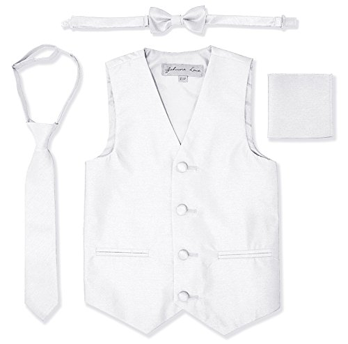 Formal Set Vest (JL34 Boys Formal Tuxedo Vest Set (16, White))
