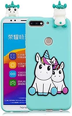 Funluna Funda Huawei Y7 2018 / Honor 7C, 3D Unicornio Patrón Cover TPU Suave Carcasa Silicona Gel Anti-Rasguño Protectora Espalda Caso Bumper Case ...
