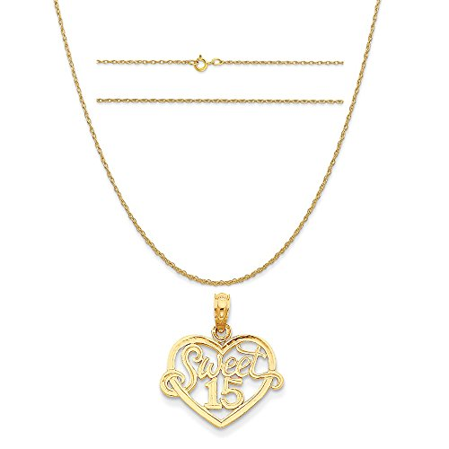 14k Yellow Gold Sweet 15 in Heart Pendant on a 14K Yellow Gold Carded Rope Chain Necklace, 18