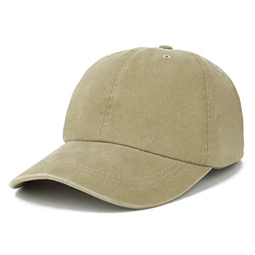 (Trendy Apparel Shop Oversize XXL Pigment Dyed Washed Cotton Baseball Cap - Khaki - 2XL)