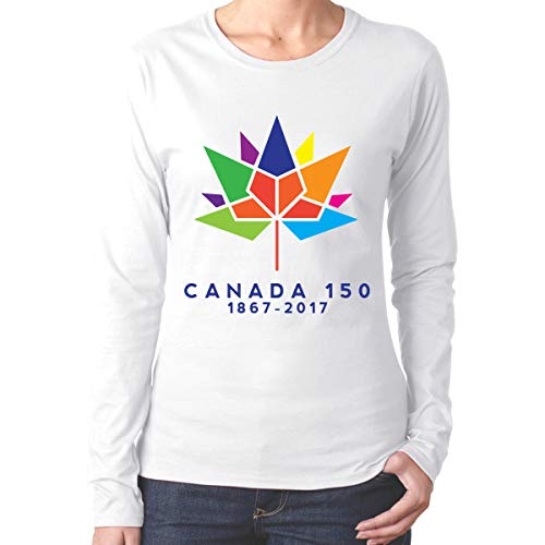 - NvYuanTcx Canada 150 Ladies Round Neck Long Sleeve Basic Tee Cotton Tops