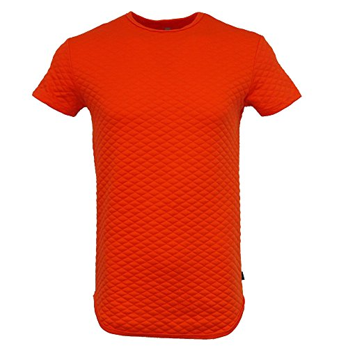 Hipster Quilted - Henry & William Men's Hipster Hiphop Quilted Scalloped Longline Crewneck T Shirt L Tangerine