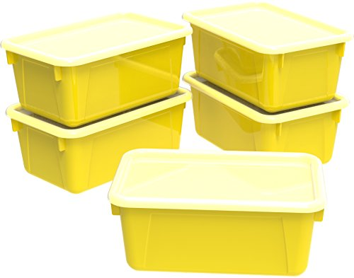 (Storex Small Cubby Bins with Covers, Pack of 5, 12.2 x 7.8 x 5.1 Inches, Yellow (62410U05C))