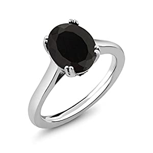 3.03 Ct Oval Black Onyx White Diamond 925 Sterling Silver Women's Ring (Available in size 5, 6, 7, 8, 9)
