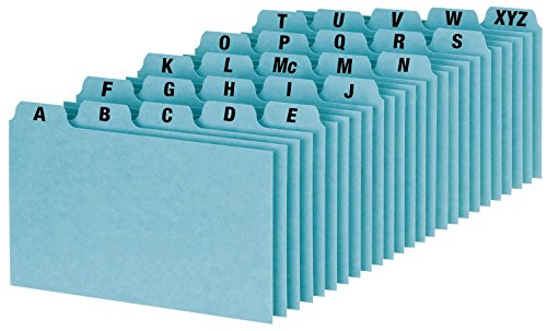 Oxford A-Z Index Card Guide Set, 3 x 5 Inches, Blue Pressboard, 25 per Set (P3525) (Oxford Card Index Dividers)