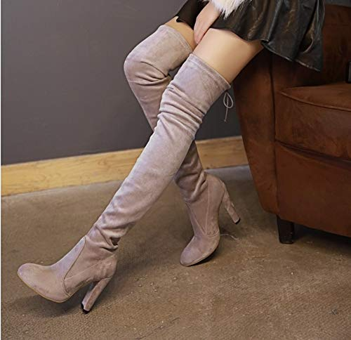 Autumn Fabric Over High Thigh Stretch Boots Knee The Tacones Square Fashion HCBYJ Ladies and Winter Tube Boots Heels High wXcgBY5q
