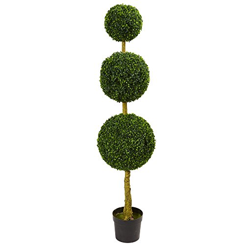 - Nearly Natural Artificial Tree, UV Resistant 5.5' Triple Ball Boxwood Topiary (Indoor/Outdoor), Green