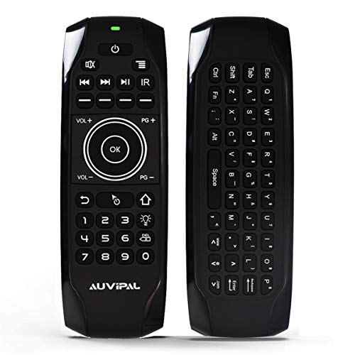 AuviPal G9 Backlit 2.4GHz Wireless Air Mouse Remote with QWERTY Keyboard, 5 Programmable Keys and Build-in Rechargeable Battery for Nvidia Shield, Android TV Box, Streaming TV Stick, Mini PC and More