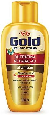 Gold Shampoo Queratina Reparação, 200 ml, Niely, Niely, Dourado
