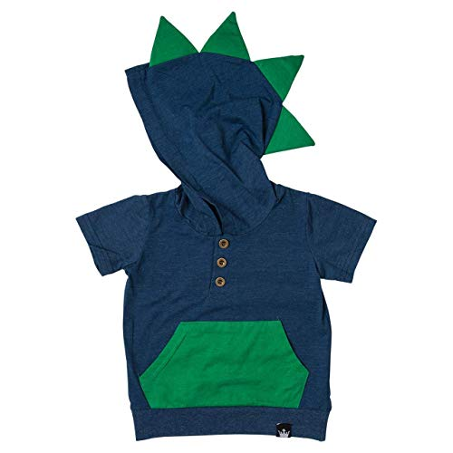 Littlest Prince Navy & Green Short Sleeve Dino Hoodie Shirt for Toddlers & Boys (12 Months) -