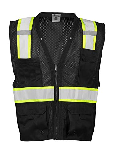 ML Kishigo Men's Enhanced Visibility Multi-Pocket Mesh Vest — Black, Large/XL, Model# B100-L-XL