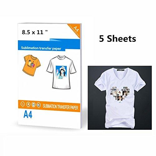 8.5 X 11 Inkjet Heat Transfer Paper T-shirt Transfer Photo Paper for Light Color Clothing (5 Sheets)