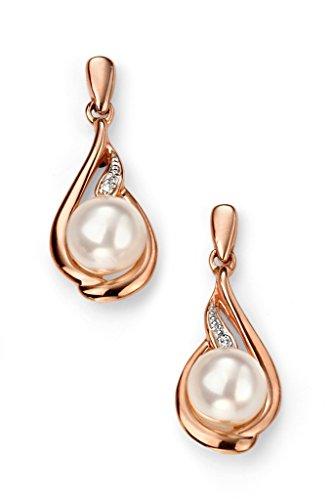 Boucles d'oreilles pendantes Or Rose 9carats Diamant et Perle