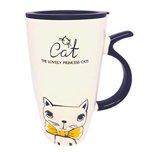 Little-Sweet Huge Travel Mug Cat Large Coffee Mug Cute Ceramic Mug Novelty Morning Mug Tea Cup for Cat Lovers (Yellow -