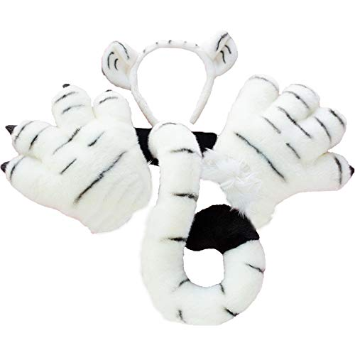 BUCOTA Plush Tiger Leopard Animal Costume Set Ears Headband Tail and Paw Set for Adult Kids Cosplay.White Tiger ()