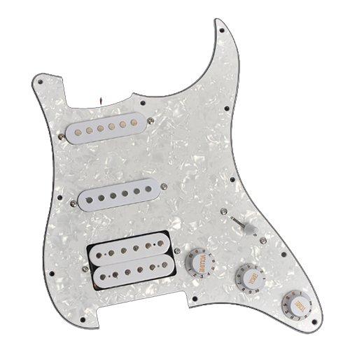 Guitar Prewired Loaded Pickguard HSS for Fender Stratocaster Strat White (Stratocaster Pickup Assembly)