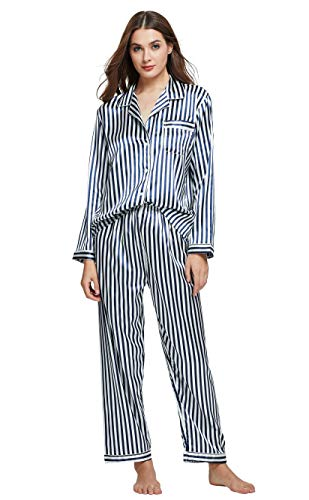 Tony & Candice Women's Classic Satin Pajama Set Sleepwear Loungewear (Blue and White Striped, Medium)