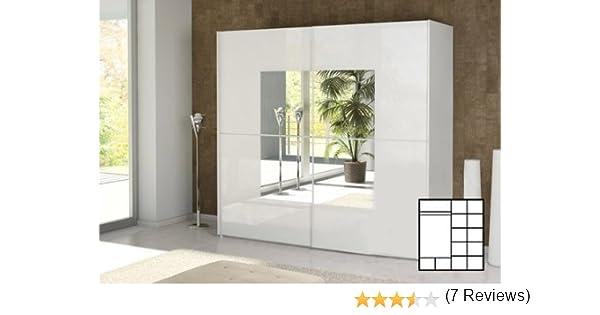 P849AL72 - Armario ropero con espejo (puerta corredera), color blanco: Amazon.es: Hogar
