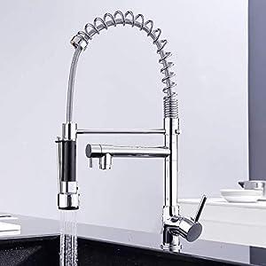 GAVAER Robinet de cuisine, bec pivotant à 360 degrés et à ressort, douche à main extractible, robinet de cuisine à deux…