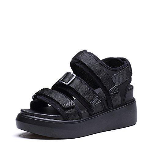 ZPPZZP Ms sandali in stile romano estate studenti rilassatevi nella spessa nero 35EU