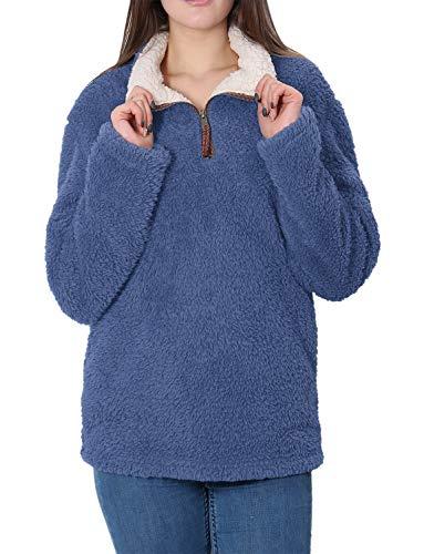 Fleece Sherpa Pullover Womens Sweatshirt Long Sleeve Soft Fu