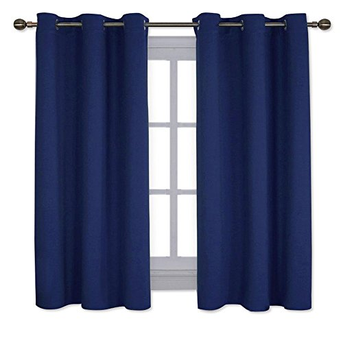 NICETOWN All Season Thermal Insulated Solid Grommet Top Blackout Curtains/Drapes/Panels for Kid's Room (Royal Navy Blue, 1 Pair,42 x 63 Inch)