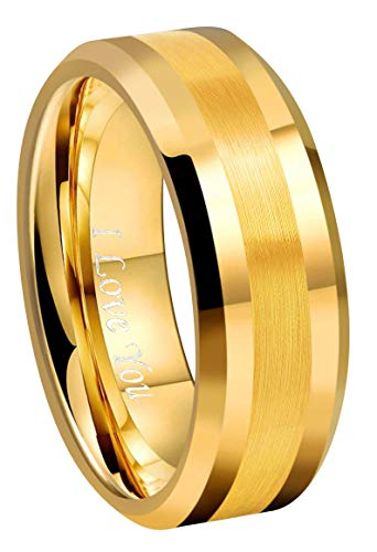 CROWNAL 8mm 18K Yellow Gold Tungsten Wedding Band Ring Men Women Brushed Stripe Center Comfort Fit Engraved I Love You Size 6 to 17 (8mm,14)