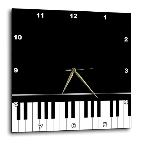 3dRose Black Piano Edge - Baby Grand Keyboard Music Design for Pianist Musical Player and Musician Gifts - Wall Clock, 10 by 10-Inch (DPP_112947_1)