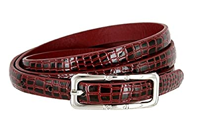 Skinny Alligator Embossed Leather Casual Dress Belt with Buckle for Women 7015