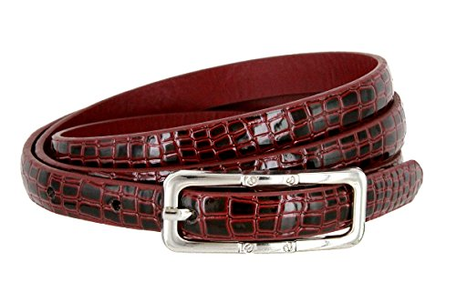 Skinny Alligator Embossed Leather Casual Dress Belt with Buckle for Women 7015 (Burgundy, Medium)
