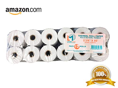 LEBOMAR 2 1/4'' x 85' (Pack 12 ROLL) Thermal Paper Cash Register POS Receipt & for Use in Some Verifone, Omni, Hypercom and MORE !