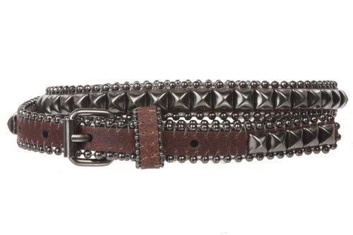 "3/4"" (19 mm) Punk Rock Star Hematite Pyramid Studded Skinny Leather Belt Size: L-36""~38"" Color: Brown"