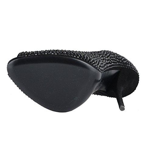 Giuseppe Zanotti Design Femmes Sparkle Cuir Talon Haut Pompe Chaussures Noir