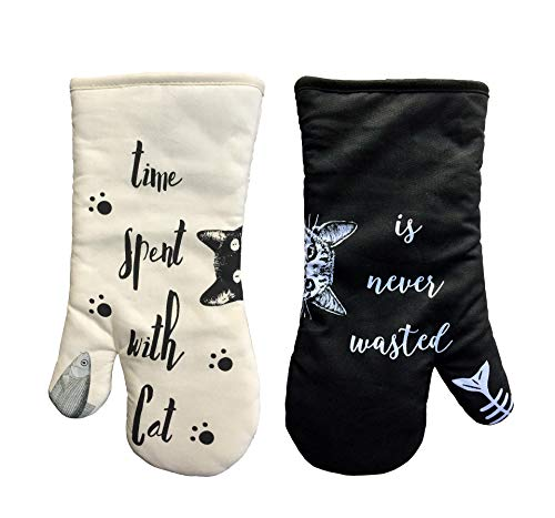 AIYUE Oven Mitts, Thick Cotton Kitchen Oven mitt | Funny Cat Oven Gloves with Long Sleeves | Heat Resistant to 482 F | Machine Washable | Suitable for Cooking Baking BBQ