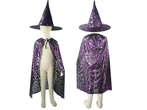Hezon Happy Festival 2 Pcs Easter Halloween Costumes Witch Wizard Cloak with Hat for Kids (Black and Purple)
