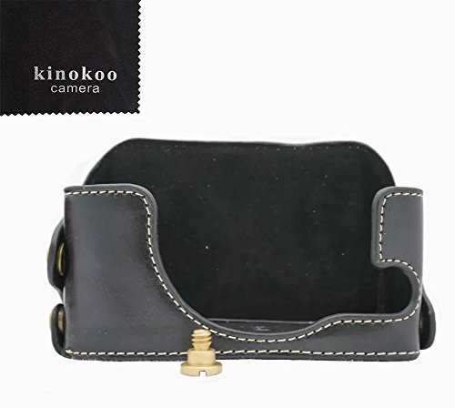 kinokoo Camera Leather Half Case Bottom Case for Sony RX1 RX1R PU Leather Bottom open-able black -  SONY-RX1BT-BK