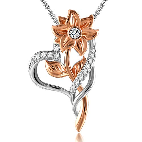 SNZM Love Heart Necklace for Women - Rose Gold Plated Sunflower Pendant Necklace with Cubic Zirconia Flower Necklace Birthday Gifts for Women