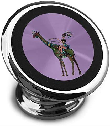 キリンの図とアフリカの女の子 携帯電話ホルダー おしゃれ 車載ホルダー 人気 磁気ホルダー 大きな吸引力 サポートフレーム 落下防止 360度回転