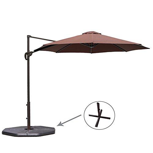 Le Papillon 10 ft Cantilever Umbrella Outdoor Offset Patio Umbrella Easy Open Lift 360 Degree Rotation, Coffee