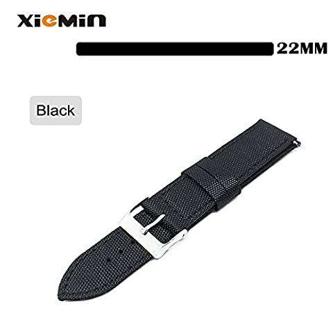 XIEMIN 22mm Nylon Leather Watch Band/ Strap Watchband for Moto360 2nd gen,Pebble Time Steel, Samsung Galaxy Gear 2/S3,Asus Zenwatch,Lg G Watch (Pebble Steel Black Watchband)