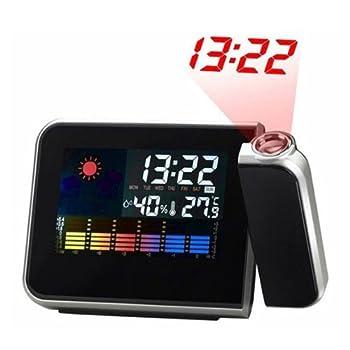 Alloet Multi-Function Digital Projection Alarm Clock Color Screen Calendar Temperature Humidity Tester