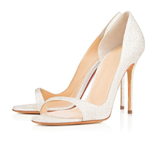 Glitzern Lack Stilettos Pumps Damen EDEFS Toe Peep High Schuhe Heels Offene 74nS6P